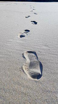 Beach, Footprint, Sand, Following In The Footsteps