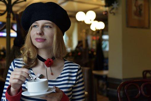 Beret, Portrait, Café, Cup, Tea Party, Girl, Woman