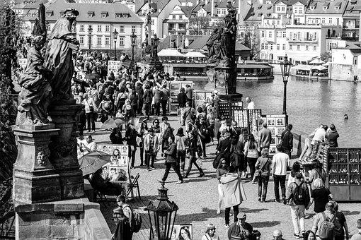 Prague, White Black, City, Street, Tourism, Monument