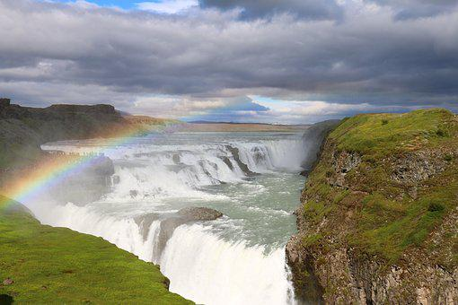 Nature, Rainbow, Color, Waterfall, Landscape, Iceland