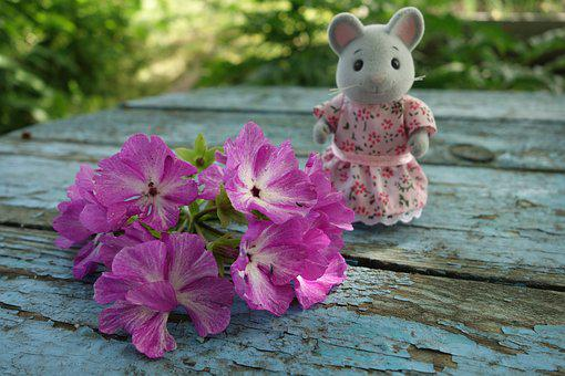 Flowers, Mouse, Toy, Summer