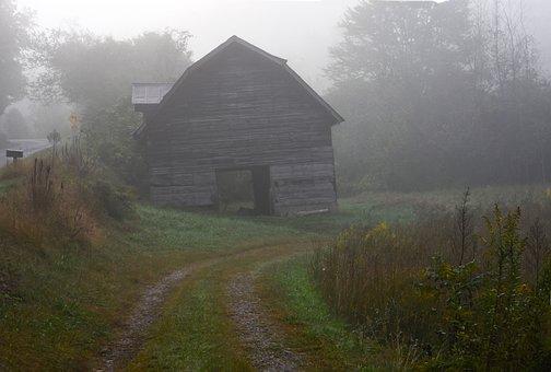 Farmhouse, Barn, Fog, Mood, Farm, Agriculture, Clouds