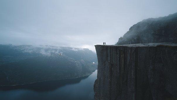 Norway, Lake, Mountain, Couple, Love, Hiking