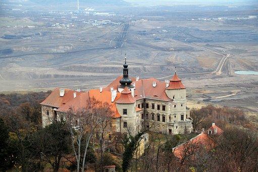 Castle, Jezeří, Landscape, History, Building, Lignite