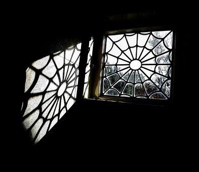 Spider Web Window, Leaded Window, Vintage Window, Light