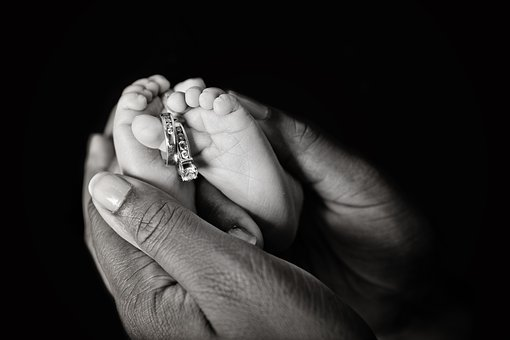 Couple, Newborn, Rings, Baby, Married, Father, Family