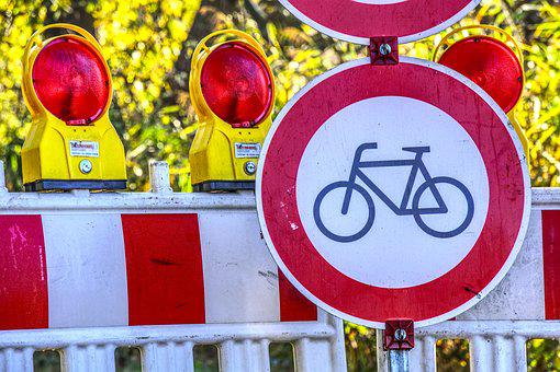 Roadblock, Ban, Passage, Locked, Bike, Shield