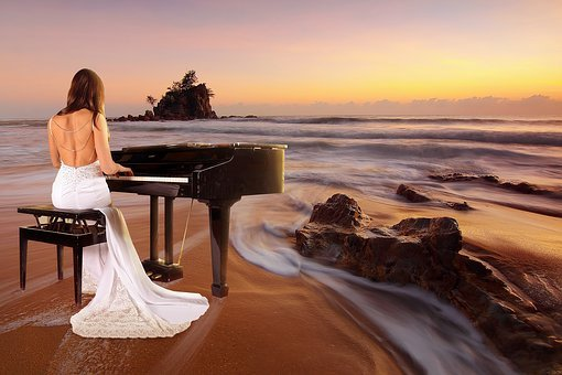 Sea, Beach, Sunset, Sunrise, Piano Spielerin, Piano
