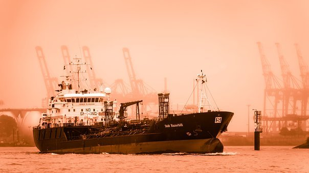 Tanker, Ship, Port, Hazy, Haze, Elbe, Maritime