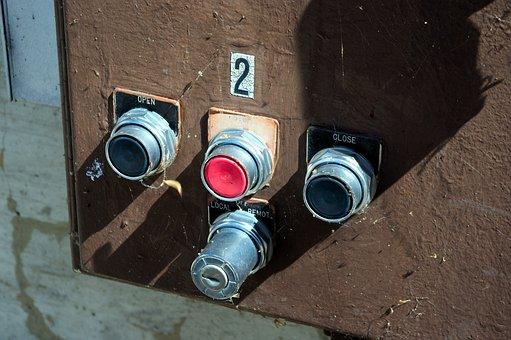 Dam Valve Controls, Pushbutton, Button, Old, Chrome