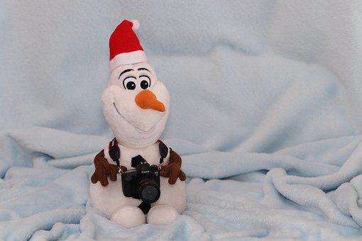 Snowman, Plush, Figure, Olaf, Santa Hat, Camera