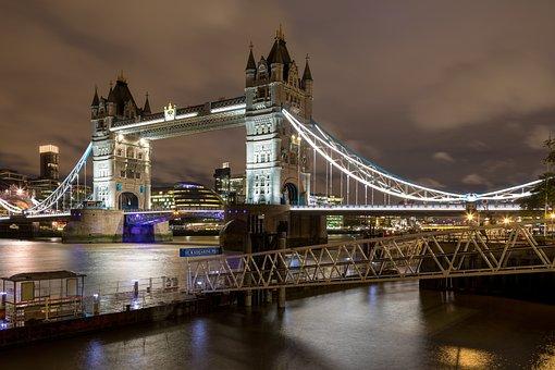 London, Tower Bridge, Landmark, Bridge, Famous, Clouds