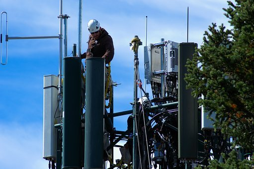 Working On Cell Tower, Cellular, Tower, Workers
