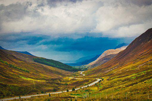 Scotland, Valley, Nature, Hill, Road, Clouds, Travel
