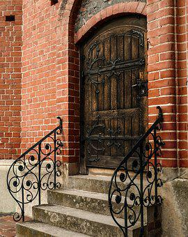 Door, Old, Antique, Wooden Door, Stairs, Metal, Iron