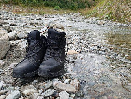 Shoe, River, Mountains, Stone, Austria, Outdoor, Stones
