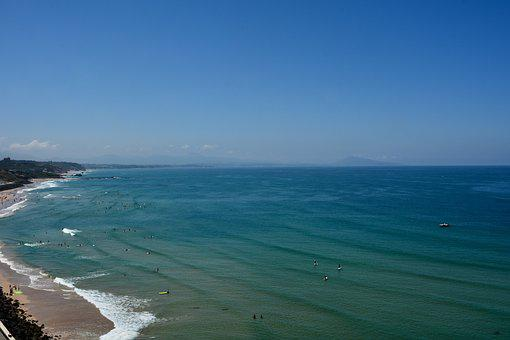 Basque Country, Ocean, Sky, Beach, France, Side