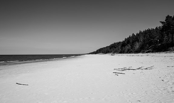 B, Black And White, White, Black, Shadow, Sea, Beach