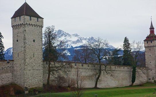 Castle, Snow Mountain, Alpes