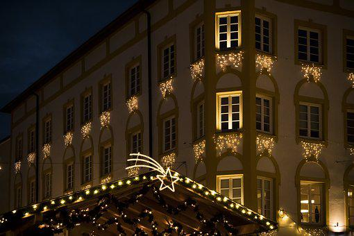 Christmas Market, House, Star, Christmas, Lighting