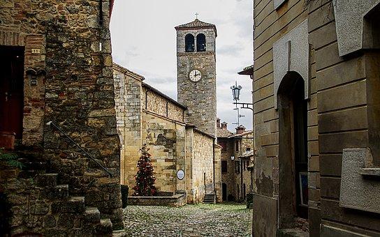 Castle, Campanile, Church, Pieve Di San Giorgio