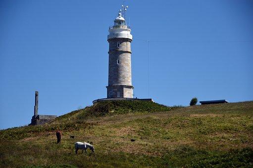 Landscape, Lighthouse, Horses, Spain, Asturias, Costa