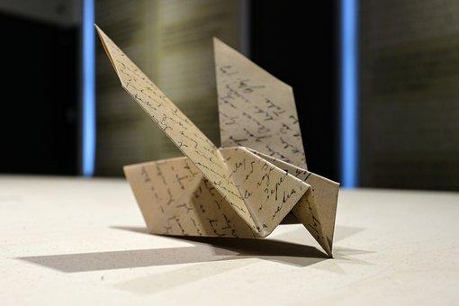Bird, Origami, Light, Shadow, Paper, Decoration, Fold