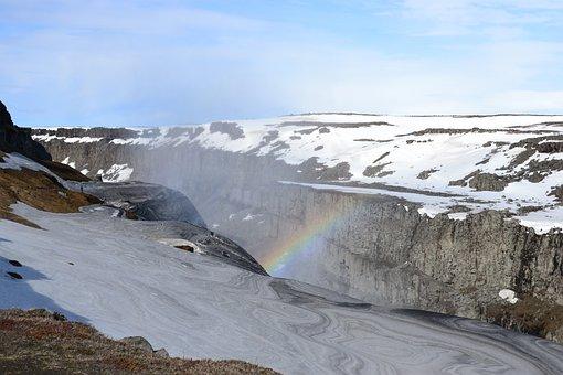 Iceland, Waterfall, Gullfoss, Landscape
