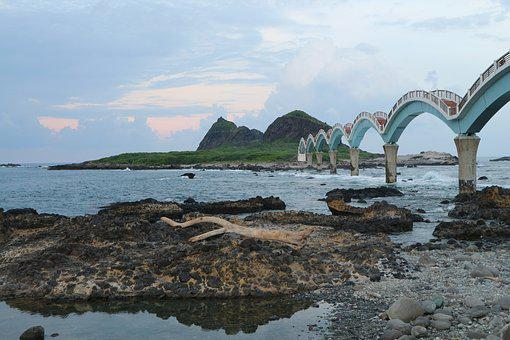 Sanxiantai, Bridge, Taiwan, Seaside, Sunset, Iceland