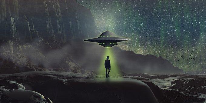 Fantasy, Ufo, Landscape, Man, Fog, Northern Light