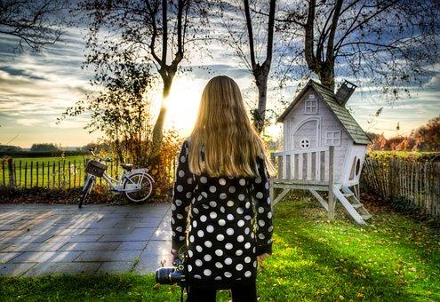 Girl, Bike, Light, Play House, Hdr, Back, Sun, Trees