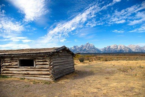 Cunninghan Cabin And Teton Range, Cabin, Mountains, Log