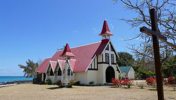 Cap Malheureux, Mauritius, Church, Red Roof, Sea