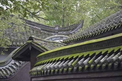 China, Stone Wall, Green, Moss, Architecture, Old