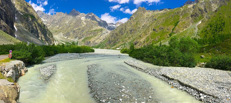 Mountain, River, Landscape, Wild, Green, Rocks