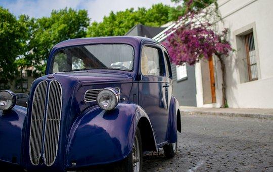 Oldtimer, Purple, Violet, Old Car, Road, Colonia