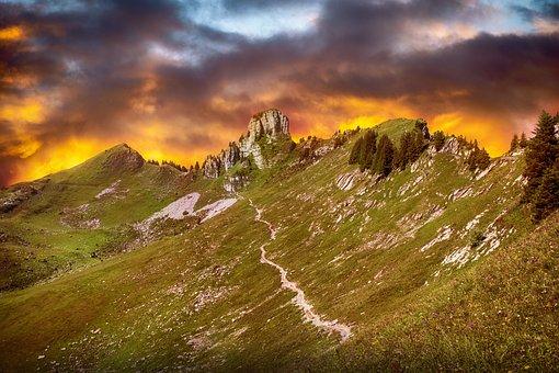 Mountains, Sky, Clouds, Sunset, Nature, Panorama