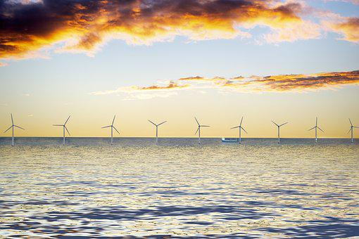 Park Wind Farm, Sea, Clouds, Sky, Lighting, Energy
