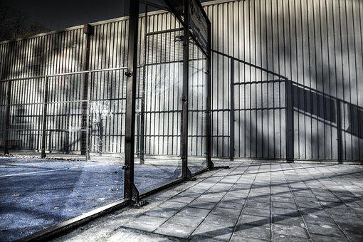 Cage, Basketball, Tennis, Play, Terrain, Shadow, Sun