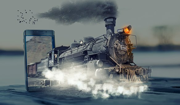 Fantasy, Locomotive, Steam Train, Phone, Pop Out, Smoke