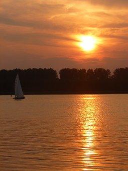 Sunset, Sailing Boat, River