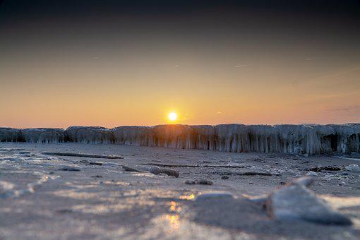 Beach, Sea, Sunset, Ice, Winter, Cold