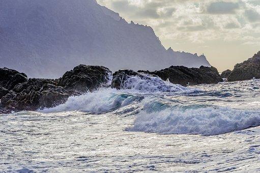 Mountains, Ocean, Beach, Wave, Sunset, Sea, Clouds