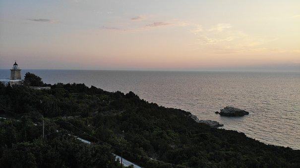 Sunset, Lighthouse, Sea, Coastline, Boats