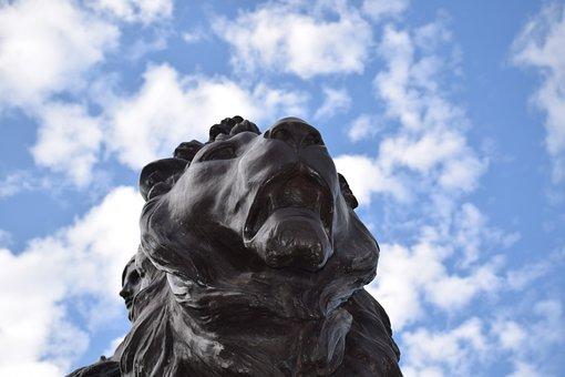 Statue, Lion, Bronze, Bellow, Sculpture, Symbol, London