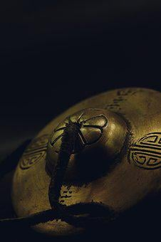 Dulcimer, Chinese Cymbal, Macro, Bronze, Texture
