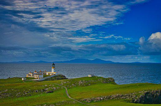 Scotland, Sea, Horizon, Meadow, Hill, United Kingdom