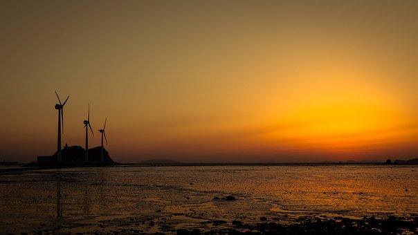 Glow, Sunset, Wind Power Generator, Evening To