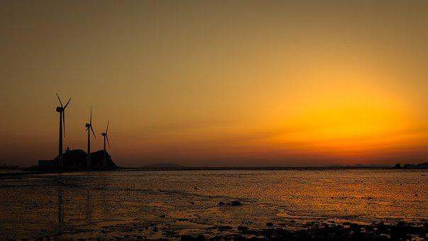 Ray, Sunset, Wind Power Generator, In The Evening