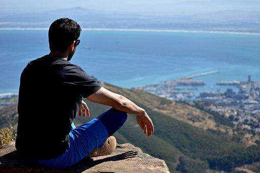 Mountain, Ocean, Sky, Meditate, Cross Legged, Yoga
